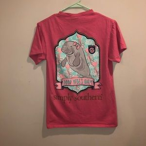 Simply Southern manatee good vibes only tee pink